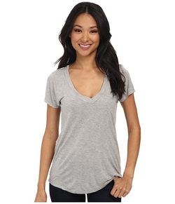 Short-Sleeve Low V-Neck Boyfriend Tee by LA Made in Quantico