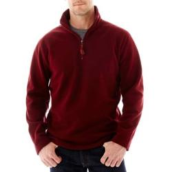 Long-Sleeve Quarter-Zip Fleece Pullover by St. John's Bay in The Wolverine