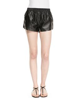 Dark Side Floral Perforated Faux-Leather Shorts by Blank in Frank Miller's Sin City: A Dame To Kill For