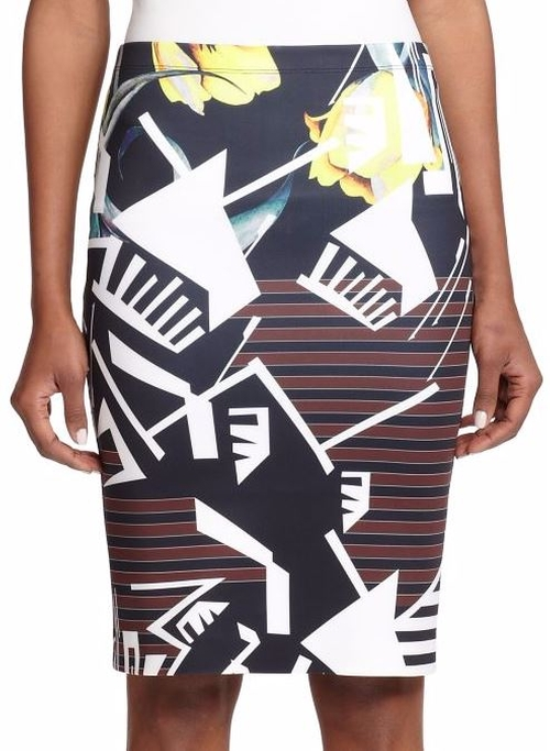 Printed Neoprene Pencil Skirt by Clover Canyon in Pretty Little Liars - Season 6 Episode 18
