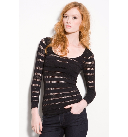 Black Sheer Striped Mesh Shirt by Free People in Shadowhunters
