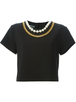 Chain And Faux Pearl Trim Top by Boutique Moschino in Pretty Little Liars