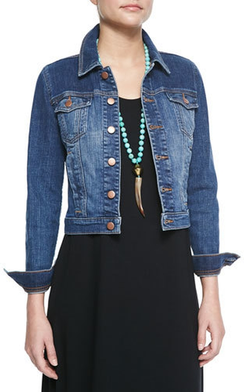 Denim Cropped Jacket by Eileen Fisher in Mistresses