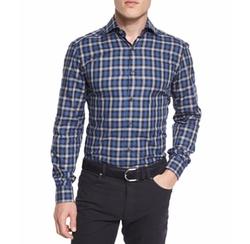 Plaid Long-Sleeve Sport Shirt by Ermenegildo Zegna in Quantico