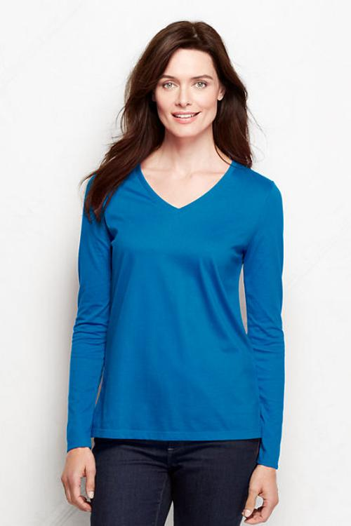 Women's Long Sleeve Relaxed Supima V-Neck T-Shirt by Lands' End in Laggies