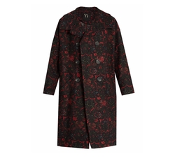 Floral-Jacquard Oversized Coat by Y's by Yohji Yamamoto in Black Panther