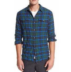 Frayed-Hem Plaid Western Shirt by Vince in Flaked