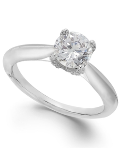 Certified Diamond Solitaire Engagement Ring by Classic By Marchesa in Bridesmaids