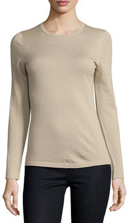 Superfine Cashmere Modern Crewneck Sweater by Neiman Marcus Cashmere Collection  in American Housewife