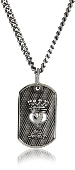 Crowned Heart Dog Tag Pendant Necklace by King Baby in Barbershop: The Next Cut
