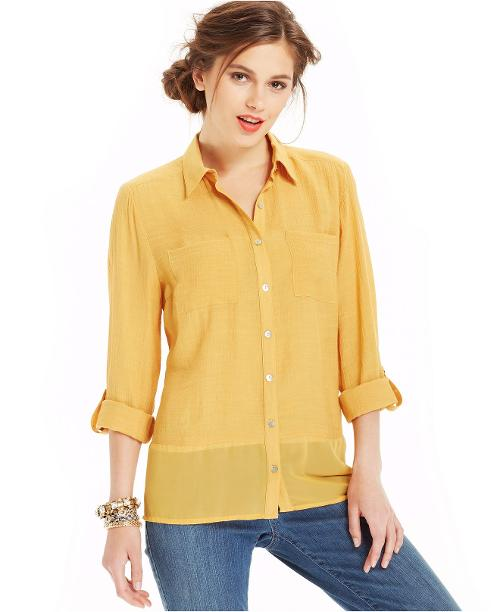 Mixed-Media Button-Down Shirt by Elementz Petite in Get On Up