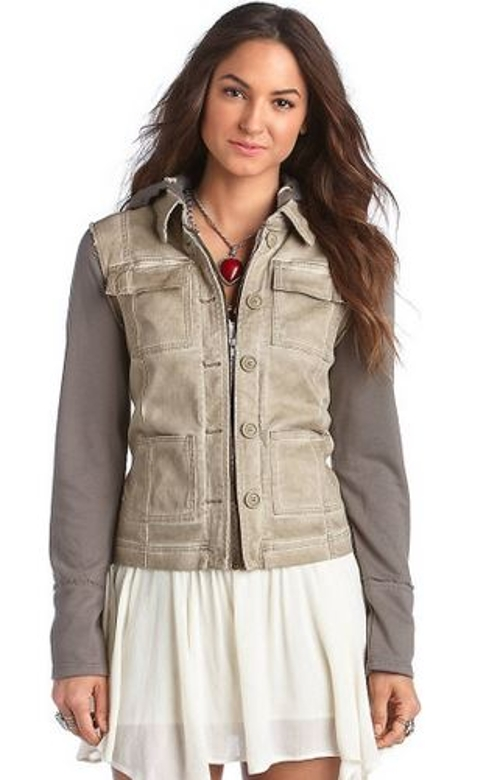 Knit Hooded Twill Jacket by Free People in Laggies