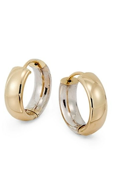 Gold Wide Hoop Earrings by Saks Fifth Avenue in Spy