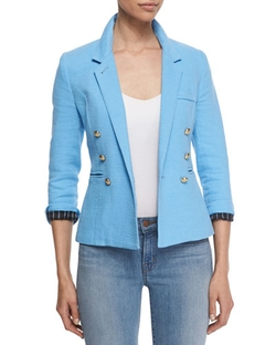 Rumpled Crepe Military Blazer by Smythe in Arrow