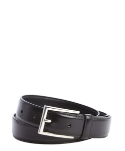 Black Leather Rectangular Buckle Belt by Prada in Legend