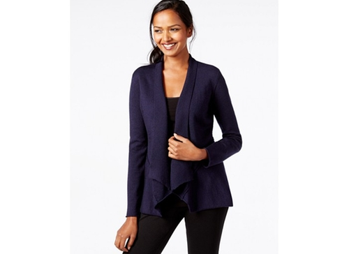 Draped Open-Front Cardigan by Eileen Fisher in Legally Blonde