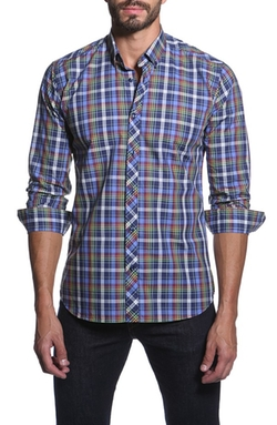 Trim Fit Plaid Sport Shirt by Jared Lang in The Mindy Project