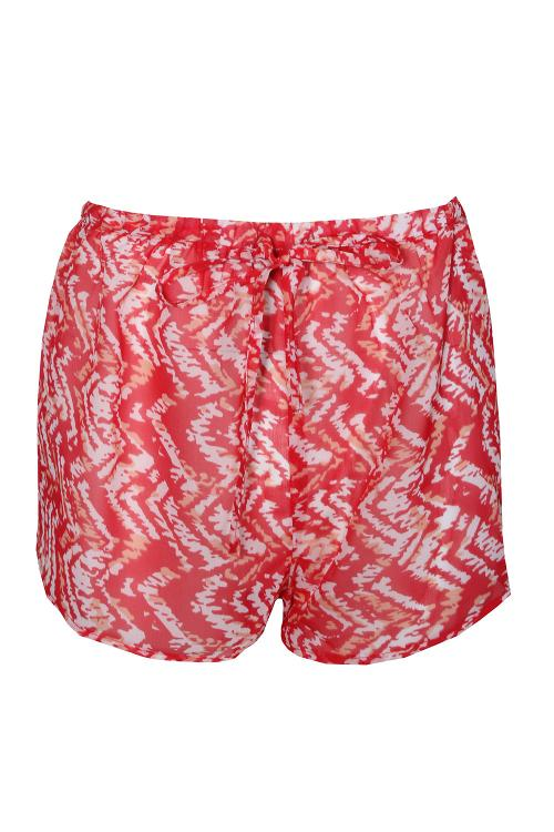 Zig Zag Tribal Print Chiffon Beach Shorts by Jacee in Dolphin Tale 2