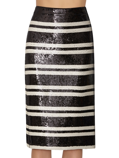 Rue Embellished Stripe Pencil Skirt by Alice and Olivia in Mistresses - Season 4 Episode 4