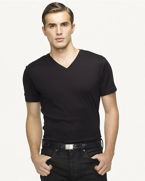Ribbed V-neck T-Shirt by Ralph Lauren in Taken 3