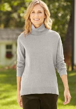 Women's Asymmetrical Hem Relaxed Turtle Neck Sweater by Orvis in Walk of Shame