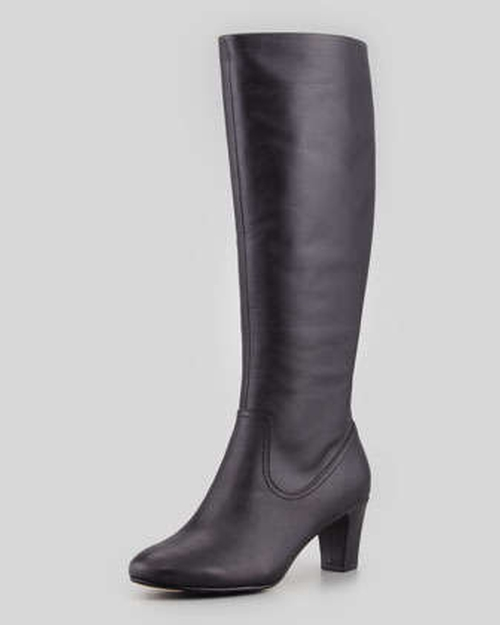 Dodie Leather Knee Boot by Taryn Rose in Gone Girl