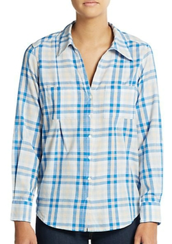 Cartel Plaid Roll-Sleeve Blouse by Joie in New Girl