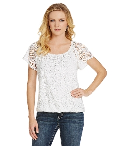 Eyelet Flutter-Sleeve Top by Reba in The Hangover