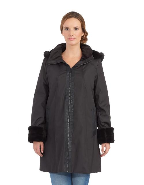 Faux Fur Accented Storm Coat by Marc New York Andrew Marc in Man of Steel