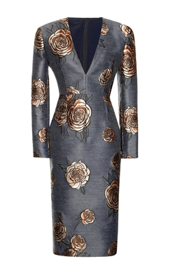Floral-Embroidered V-Neck Dress by Aquilano Rimondi Milano in Suits