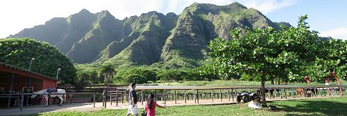 Kualoa Ranch (Depicted as Dinosaur Island - Isla Nublar) O'ahu, Hawaii in Jurassic World