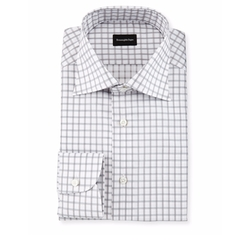 Contemporary-Fit Large Box-Check Dress Shirt by Ermenegildo Zegna in Ballers