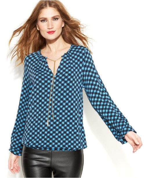 Checkered Chain-Neck Blouse by Michael Michael Kors in Run All Night