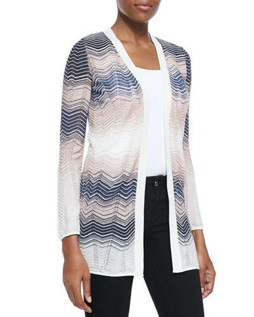 Colorblocked Ripple-Knit Cardigan by M. Missoni in The Other Woman