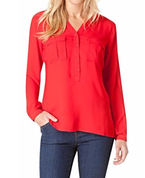 Red Silky Blouse by Yest in The Big Bang Theory - Season 9 Episode 23