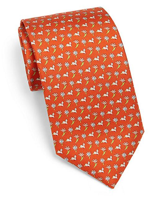 Hummingbird Print Silk Tie by Salvatore Ferragamo in Kingsman: The Secret Service