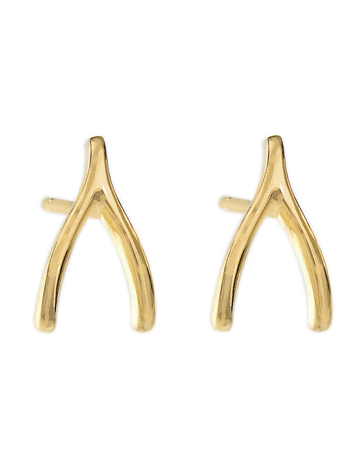 Designer Yellow Gold Wishbone Studs Earrings by Jennifer Meyer in The Gift