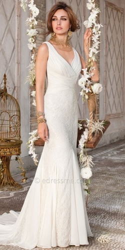 Lace V-Neck Wedding Dress by Lana Bisset from Camille La Vie  in New Girl