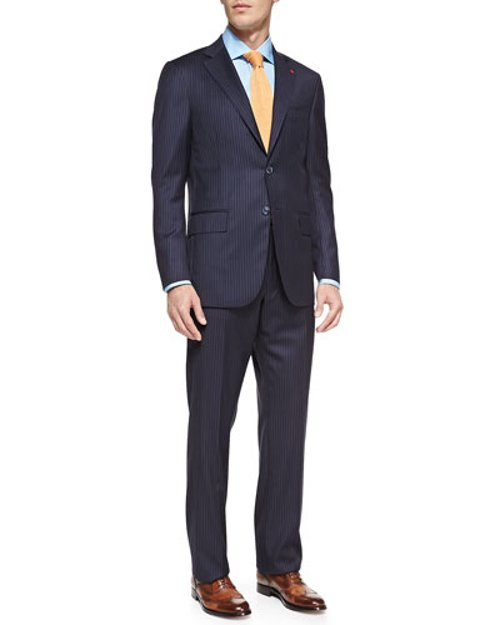 Pinstripe Two-Piece Suit by Isaia in A Most Violent Year
