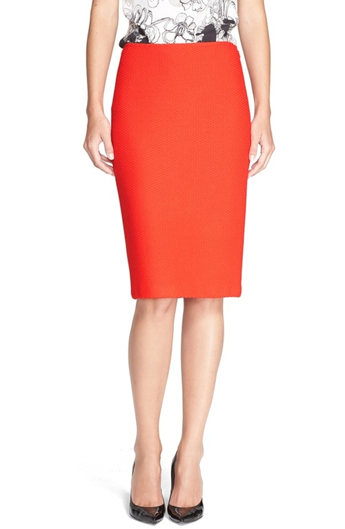 Textured Twill Pencil Skirt by St. John Collection in The Mindy Project - Season 4 Episode 1