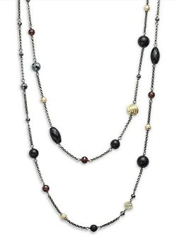 Bead Necklace with Black Onyx, Hematine, and Gold by David Yurman in That Awkward Moment