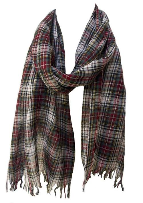Plaid Check Lightweight Wool Muffler Scarf by Steel Paisley in Couple's Retreat