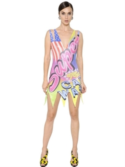 Super Printed Sequined Tulle Dress by Moschino in Empire