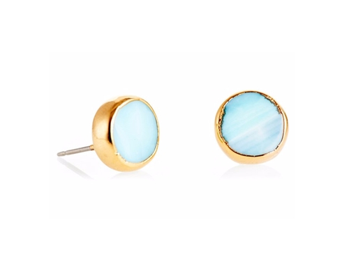 Peruvian Opal Coin Stud Earrings by Janna Conner in The Boss