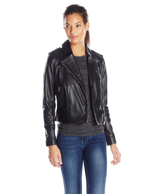 Women's Perforated Italian Leather Moto Jacket by Cole Haan in Hitman: Agent 47