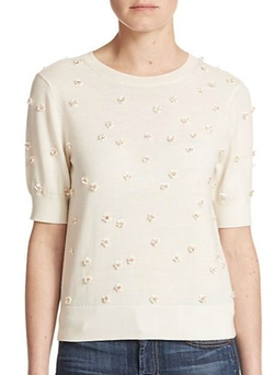 Abi Embellished Wool Sweater by Alice + Olivia in Black-ish