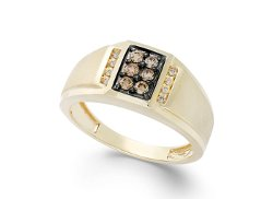 Men's Brown Diamond and White Diamond Accent Ring by Gento by Effy in The Town