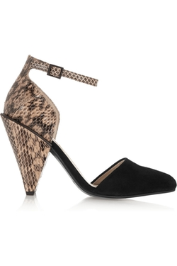 Suede And Snake Effect Leather Pumps by See By Chloé in Elementary