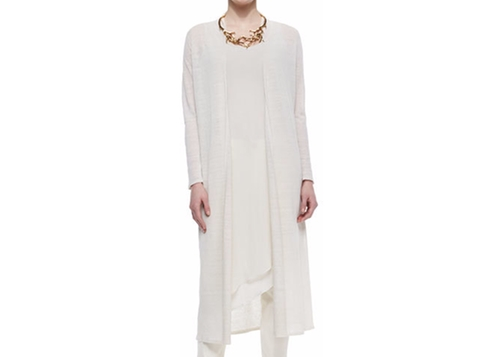 Washable Linen Crepe Maxi Cardigan by Eileen Fisher in Keeping Up With The Kardashians - Season 12 Episode 16