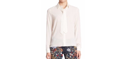 Cora Tie-Neck Blouse by Alice and Olivia in Miss Sloane